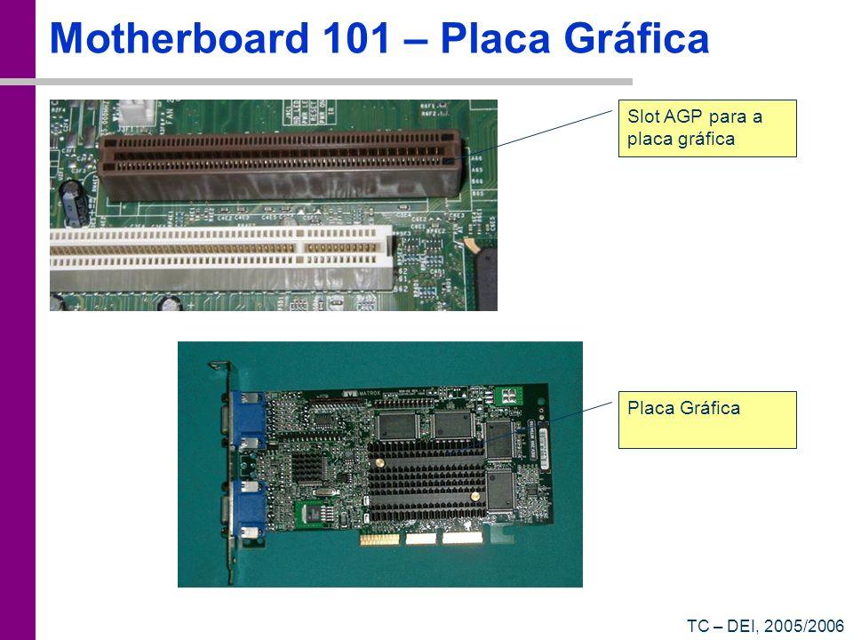 TC – DEI, 2005/2006 Motherboard 101 – Placa Gráfica Slot AGP para a placa gráfica Placa Gráfica