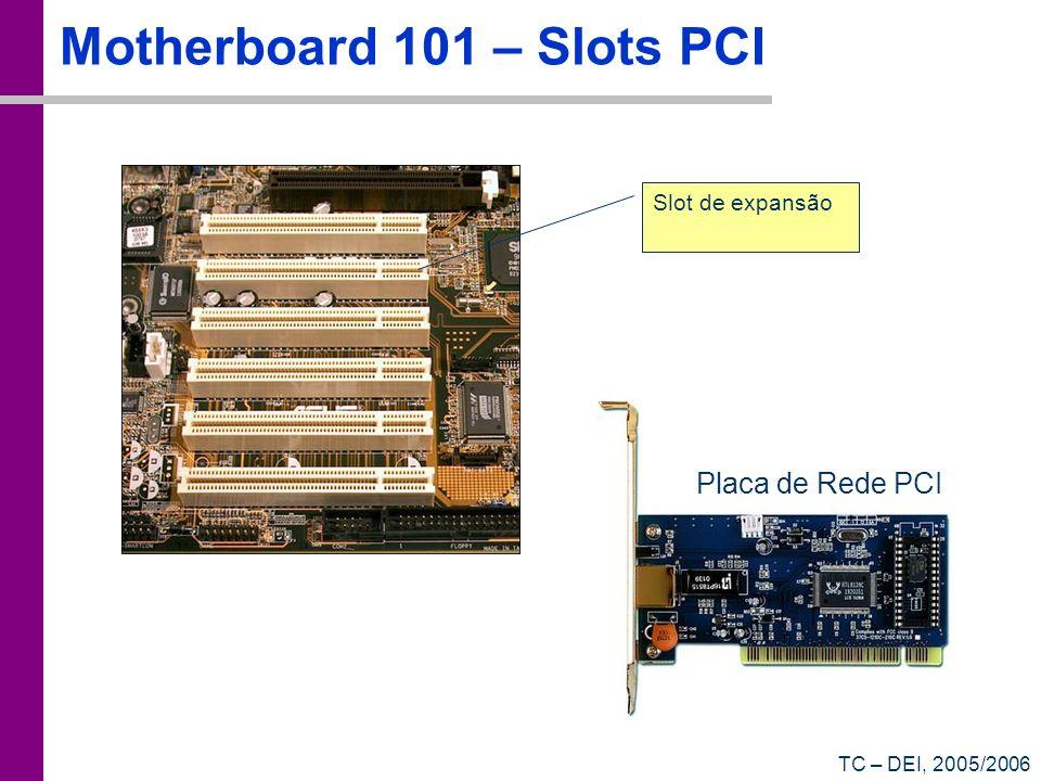 TC – DEI, 2005/2006 Motherboard 101 – Slots PCI Slot de expansão Placa de Rede PCI