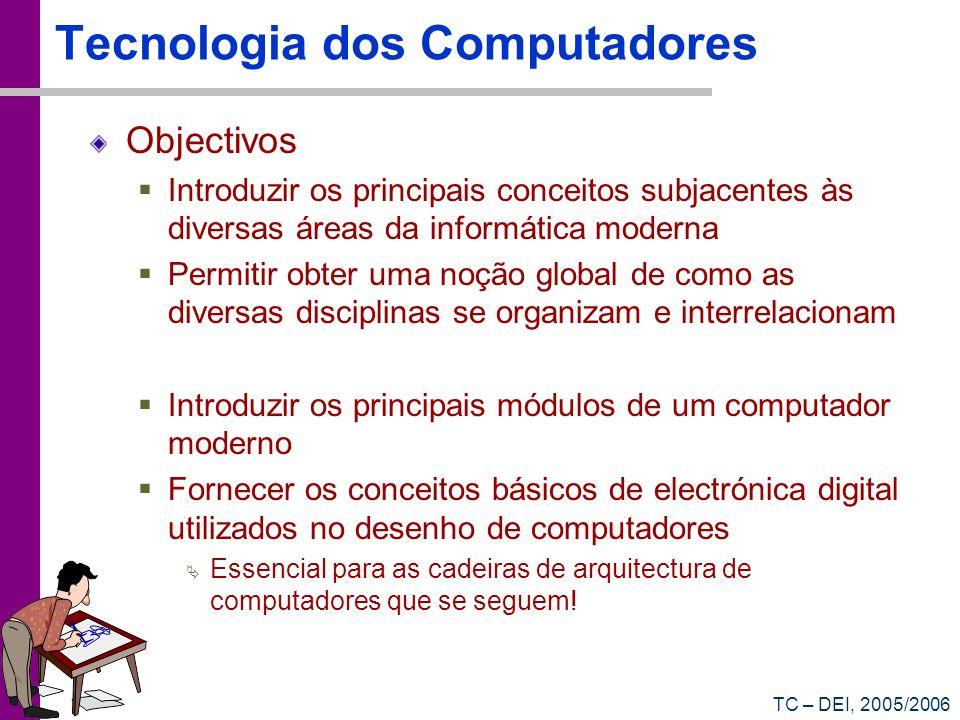 TC – DEI, 2005/2006 Programa Modelo de von Neumann Sistemas de numeração Introdução aos sistemas digitais Representação de dados Sistemas Operativos Redes de Dados Paradigmas das Linguagens de Programação Ficheiros & Bases-de-Dados Inteligência Artificial