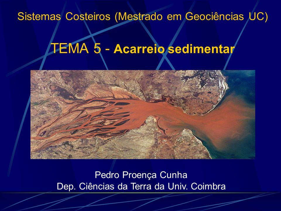 1 - Introdução 3 - Composição dos sedimentos costeiros 2 - 2 - Factores que influenciam o acarreio à costa 5 - Relação com o nível do mar TEMA 5 - Acarreio sedimentar 4 - Importância do acarreio continental