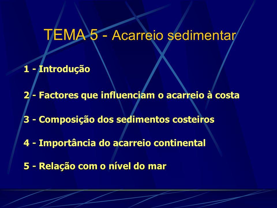 1 - Introdução 3 - Composição dos sedimentos costeiros 2 - 2 - Factores que influenciam o acarreio à costa 5 - Relação com o nível do mar TEMA 5 - Aca
