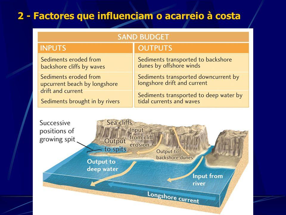 - - Génese dos sedimentos costeiros: * Continental * Deriva litoral - O transporte em suspensão afecta a transparência da água e a intensidade dos processos químicos * Sedimentação bio-química - A maior parte do transporte faz-se por carga de fundo (arrasto, rolamento e saltação) * Sedimentos relíquia 3 - Composição dos sedimentos costeiros