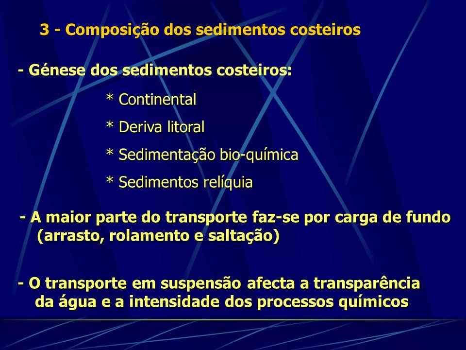 - - Génese dos sedimentos costeiros: * Continental * Deriva litoral - O transporte em suspensão afecta a transparência da água e a intensidade dos pro