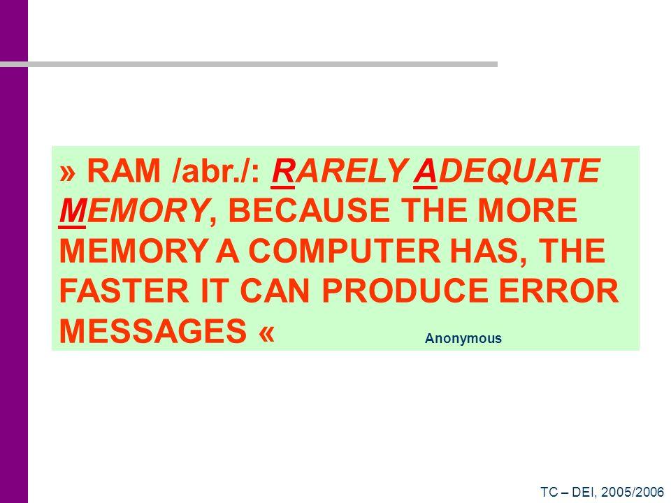 TC – DEI, 2005/2006 Contador Síncrono de 2 bits 01 10 11 00 Q1 n Q2 n Q1 n+1 Q2 n+1 0001 0110 1011 1100 Tabela de Transição de Estado Saídas QEntradas D D1 = Q1 Q2 + Q1 Q2 D2 = Q1 Q2 + Q1 Q2 D CLK Q Q (simplificável...)