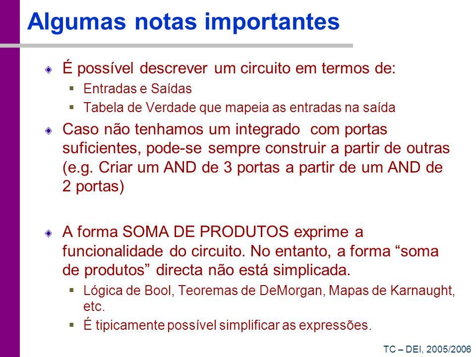 TC – DEI, 2005/2006 Algumas notas importantes É possível descrever um circuito em termos de: Entradas e Saídas Tabela de Verdade que mapeia as entrada