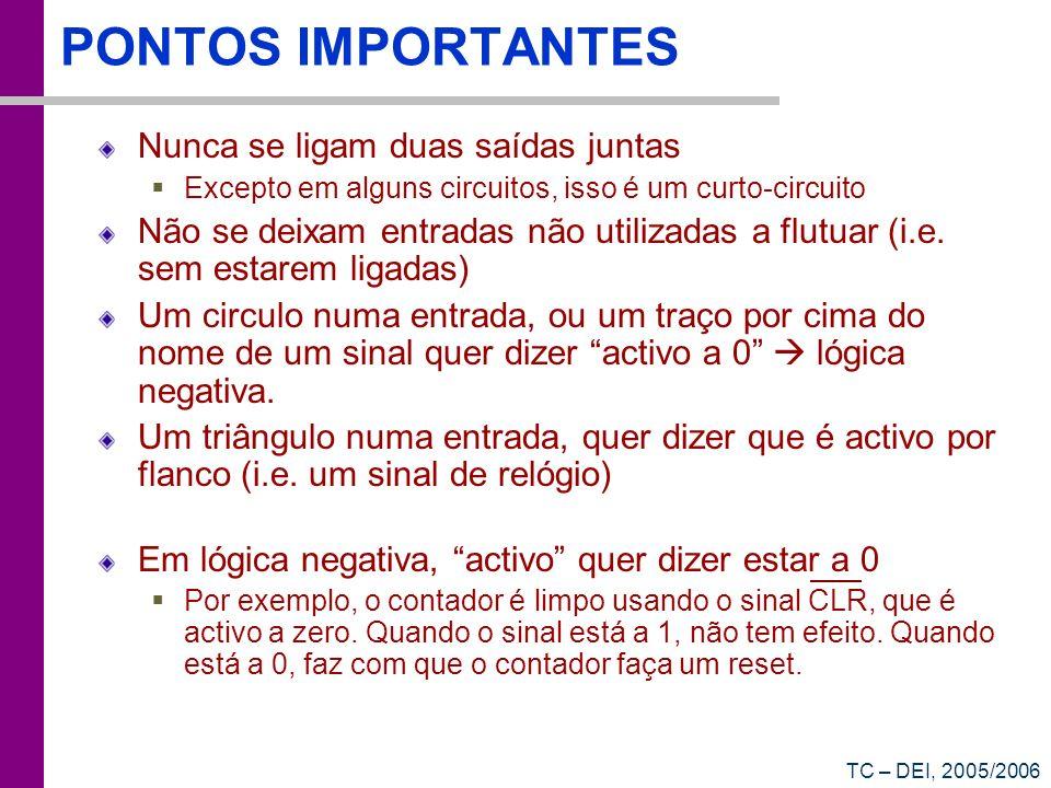 TC – DEI, 2005/2006 PONTOS IMPORTANTES Nunca se ligam duas saídas juntas Excepto em alguns circuitos, isso é um curto-circuito Não se deixam entradas