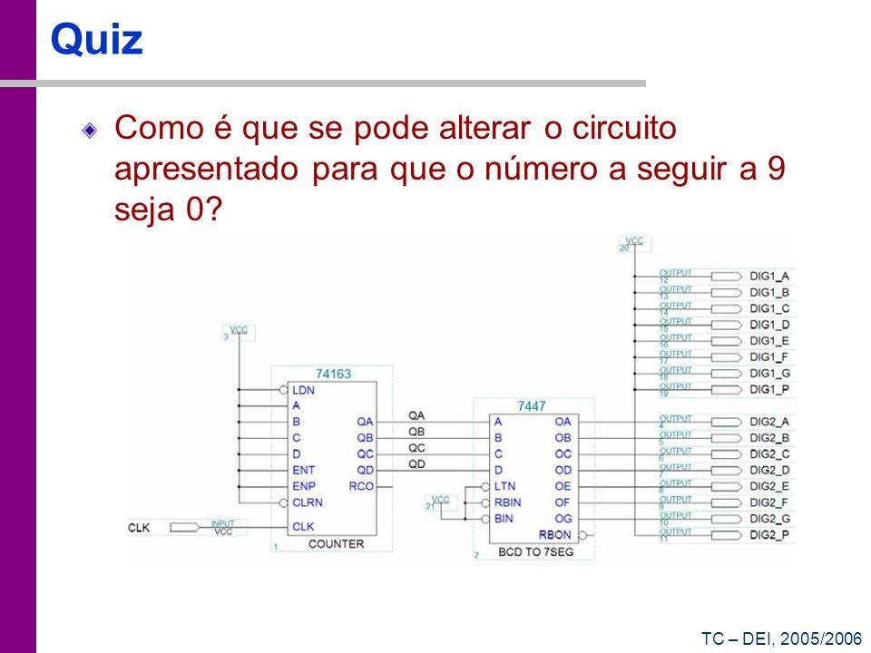 TC – DEI, 2005/2006 Quiz Como é que se pode alterar o circuito apresentado para que o número a seguir a 9 seja 0?