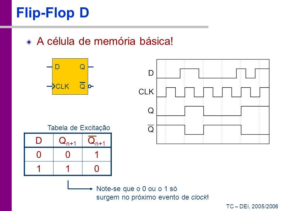 TC – DEI, 2005/2006 Flip-Flop D A célula de memória básica! D CLK Q Q DQ n+1 001 110 Tabela de Excitação Note-se que o 0 ou o 1 só surgem no próximo e