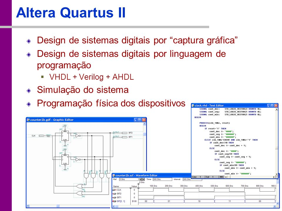 TC – DEI, 2005/2006 Altera Quartus II Design de sistemas digitais por captura gráfica Design de sistemas digitais por linguagem de programação VHDL +