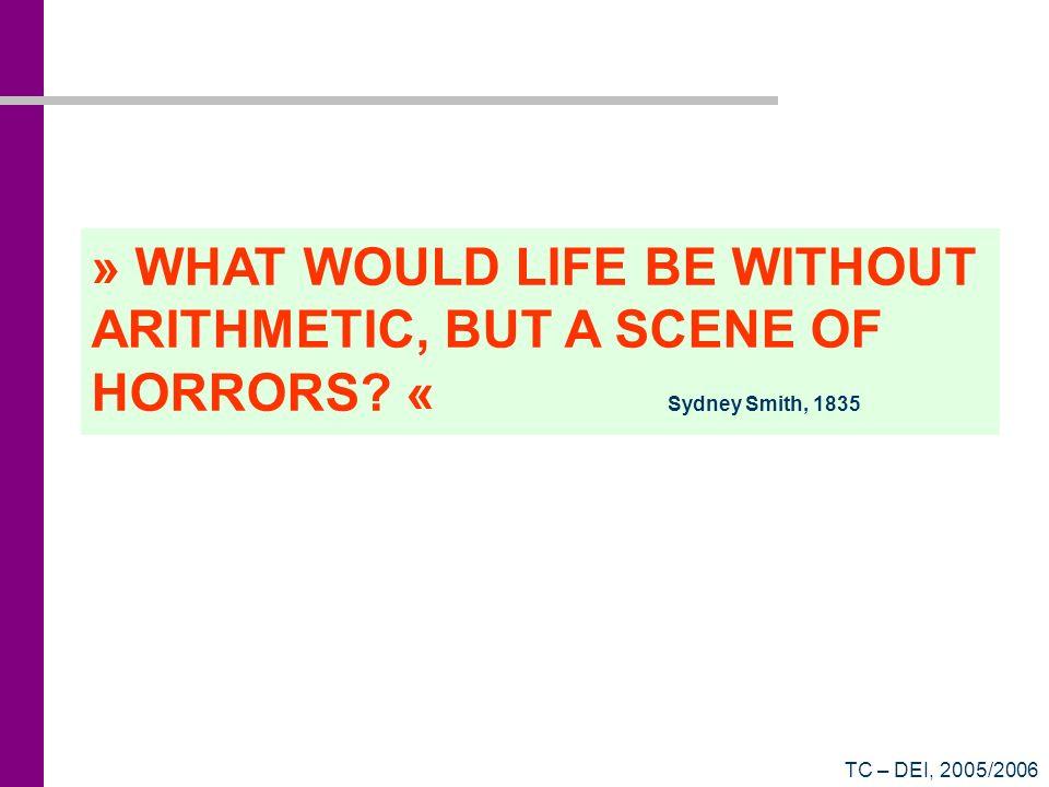 TC – DEI, 2005/2006 Resposta ao Quiz (1101010) 2 = 0 2 0 + 1 2 1 + 0 2 2 + 1 2 3 + 0 2 4 + 1 2 5 + 1 2 6 = 106 (na base 10) (C1B3) 16 = 3 16 0 + 11 16 1 + 1 16 2 + 12 16 3 = 49587 (na base 10)