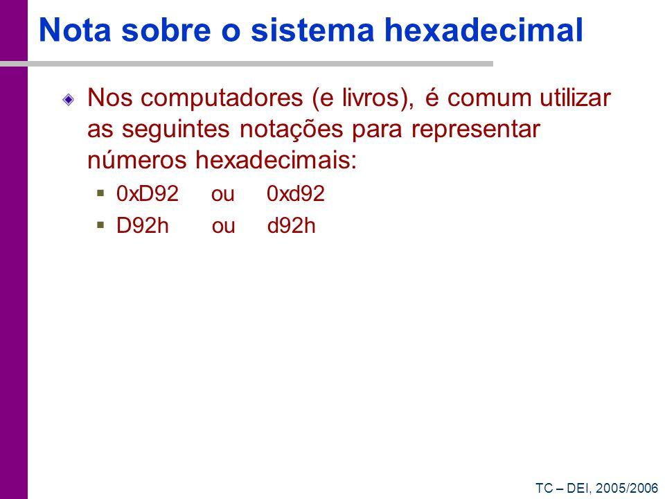 TC – DEI, 2005/2006 Nota sobre o sistema hexadecimal Nos computadores (e livros), é comum utilizar as seguintes notações para representar números hexa