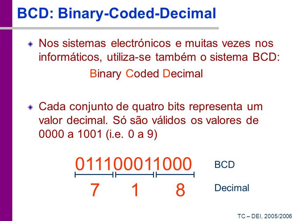 TC – DEI, 2005/2006 BCD: Binary-Coded-Decimal Nos sistemas electrónicos e muitas vezes nos informáticos, utiliza-se também o sistema BCD: Binary Coded