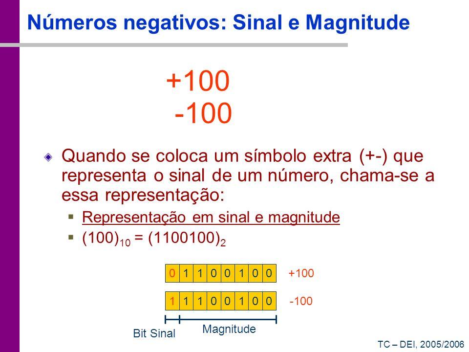TC – DEI, 2005/2006 Números negativos: Sinal e Magnitude Quando se coloca um símbolo extra (+-) que representa o sinal de um número, chama-se a essa r
