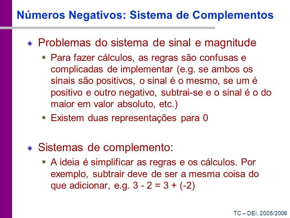 TC – DEI, 2005/2006 Números Negativos: Sistema de Complementos Problemas do sistema de sinal e magnitude Para fazer cálculos, as regras são confusas e
