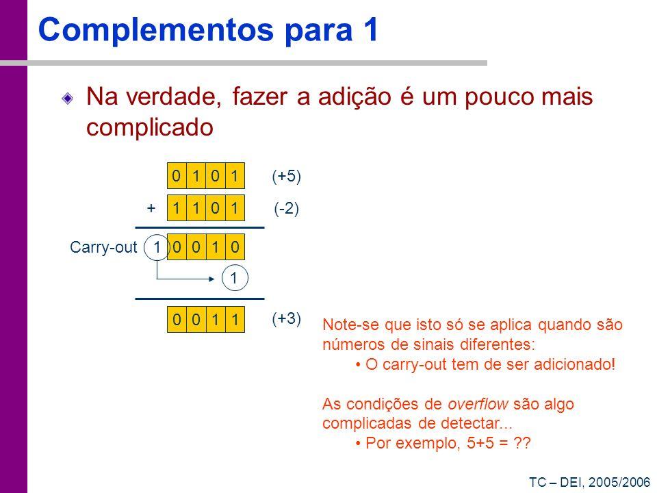 TC – DEI, 2005/2006 Complementos para 1 Na verdade, fazer a adição é um pouco mais complicado 0101 (+5) 1101 +(-2) 0010 1 Carry-out 1 0011 (+3) Note-s