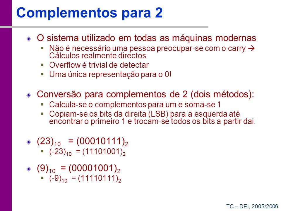TC – DEI, 2005/2006 Complementos para 2 O sistema utilizado em todas as máquinas modernas Não é necessário uma pessoa preocupar-se com o carry Cálculo