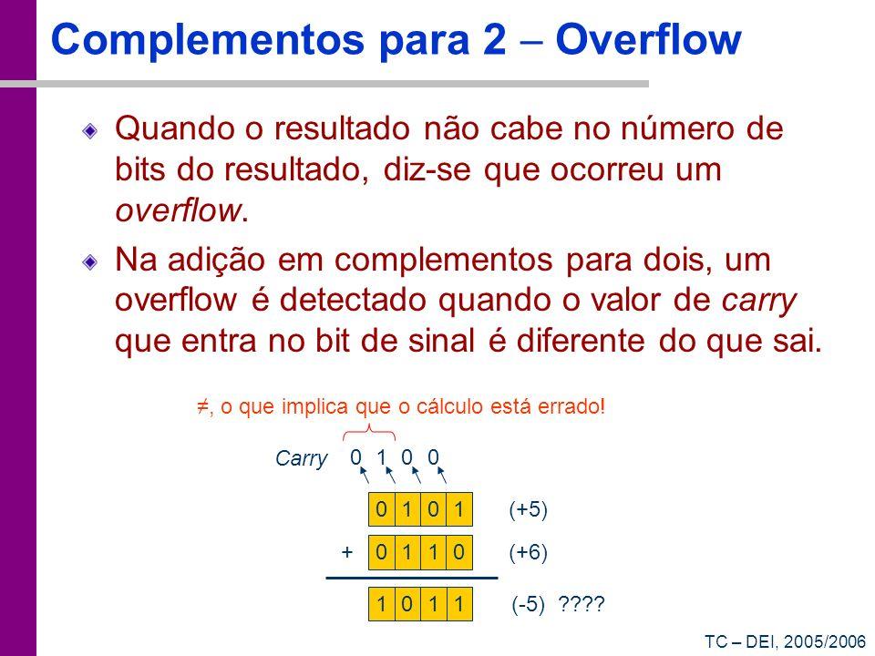 TC – DEI, 2005/2006 Complementos para 2 Overflow Quando o resultado não cabe no número de bits do resultado, diz-se que ocorreu um overflow. Na adição