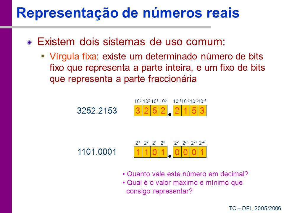 TC – DEI, 2005/2006 Representação de números reais Existem dois sistemas de uso comum: Vírgula fixa: existe um determinado número de bits fixo que rep