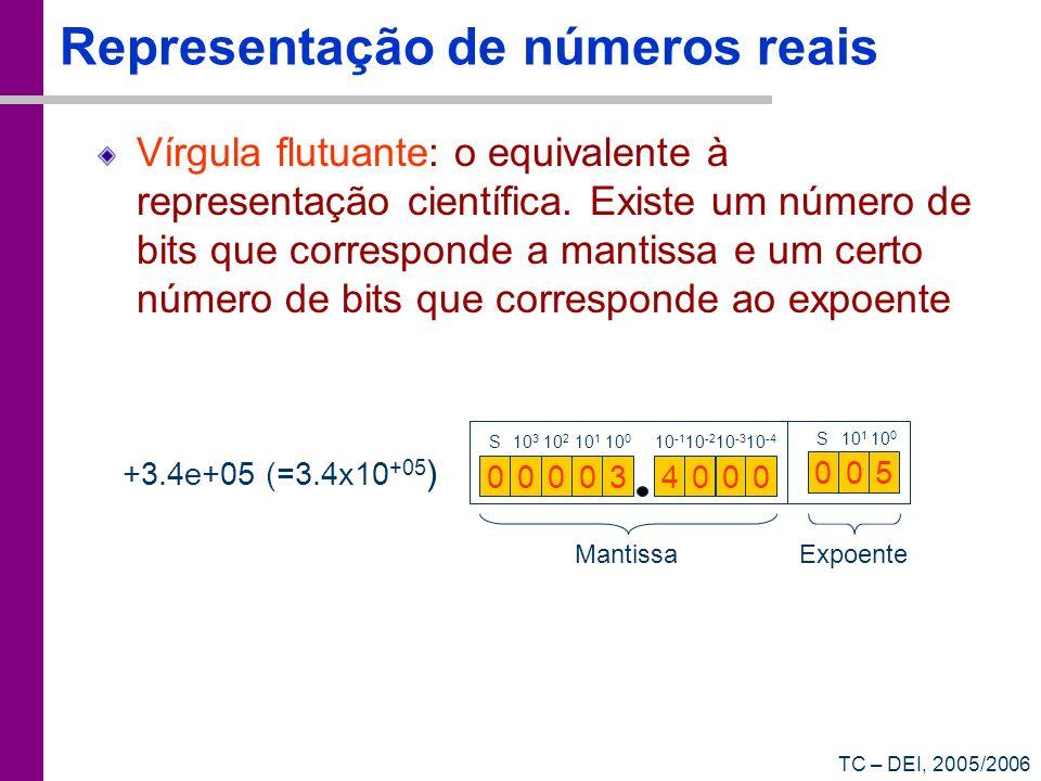 TC – DEI, 2005/2006 Representação de números reais Vírgula flutuante: o equivalente à representação científica. Existe um número de bits que correspon