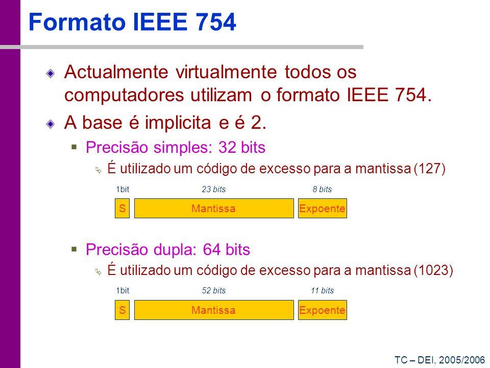 TC – DEI, 2005/2006 Formato IEEE 754 Actualmente virtualmente todos os computadores utilizam o formato IEEE 754. A base é implicita e é 2. Precisão si