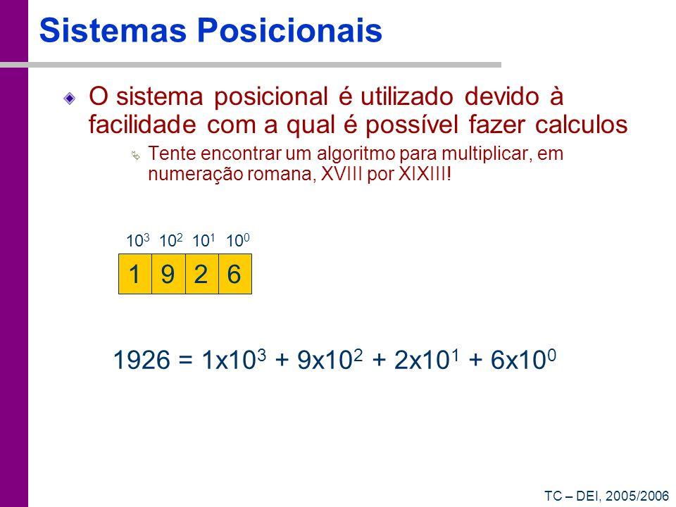 TC – DEI, 2005/2006 Sistemas Posicionais (2) Sistema de numeração de base 10: Existem 10 algarismos diferentes (0, 1, 2, 3, 4, 5, 6, 7, 8, 9) O valor de cada posição i é dado pelo valor nessa posição vezes um factor de escala base i Para calcular o valor de um número representado numa base radix: (A n-1 A n-2 A n-3...