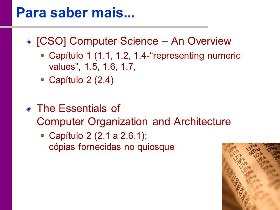 TC – DEI, 2005/2006 Para saber mais... [CSO] Computer Science – An Overview Capítulo 1 (1.1, 1.2, 1.4-representing numeric values, 1.5, 1.6, 1.7, Capí