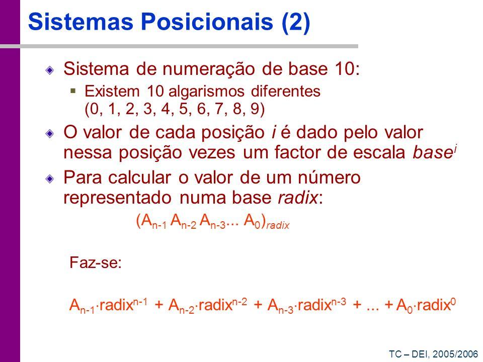 TC – DEI, 2005/2006 Representação de números reais Existem dois sistemas de uso comum: Vírgula fixa: existe um determinado número de bits fixo que representa a parte inteira, e um fixo de bits que representa a parte fraccionária 1101000 23232 2121 2020 2 -1 2 -2 2 -3 1 2 -4 3252215 10 3 10 2 10 1 10 0 10 -1 10 -2 10 -3 3 10 -4 3252.2153 1101.0001 Quanto vale este número em decimal.