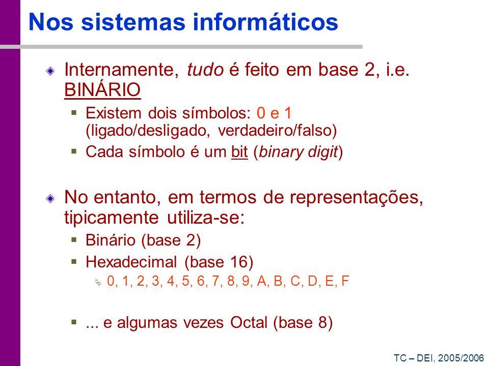 TC – DEI, 2005/2006 Nos sistemas informáticos Internamente, tudo é feito em base 2, i.e. BINÁRIO Existem dois símbolos: 0 e 1 (ligado/desligado, verda