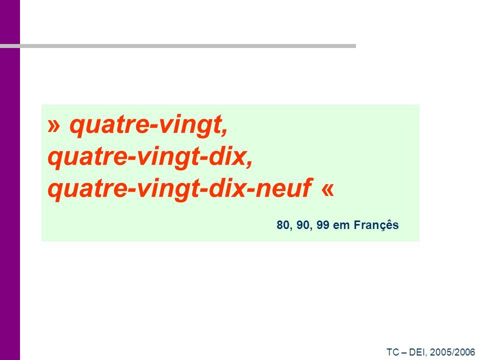 TC – DEI, 2005/2006 Contar em binário 0000 => (0) 10 0001 => (1) 10 0010 => (2) 10 0011 => (3) 10 0100 => (4) 10 0101 => (5) 10 0110 => (6) 10 0111 => (7) 10 1000 => (8) 10 1001 => (9) 10 1010 => (10) 10 1011 => (11) 10 1100 => (12) 10 1101 => (13) 10 1110 => (14) 10 1111 => (15) 10