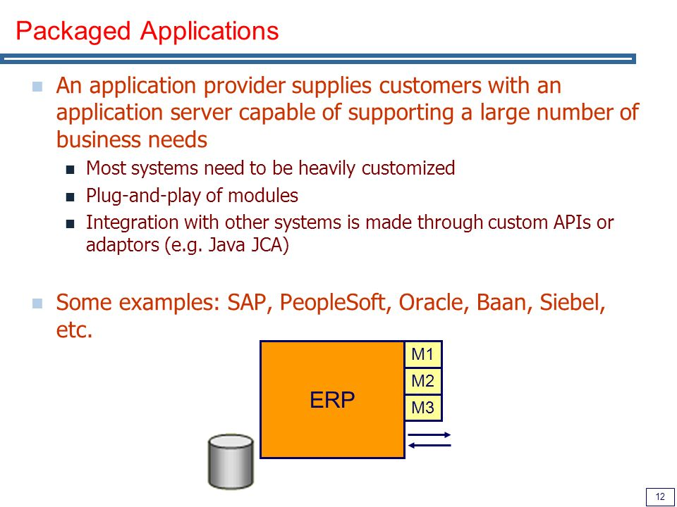 12 Packaged Applications An application provider supplies customers with an application server capable of supporting a large number of business needs Most systems need to be heavily customized Plug-and-play of modules Integration with other systems is made through custom APIs or adaptors (e.g.