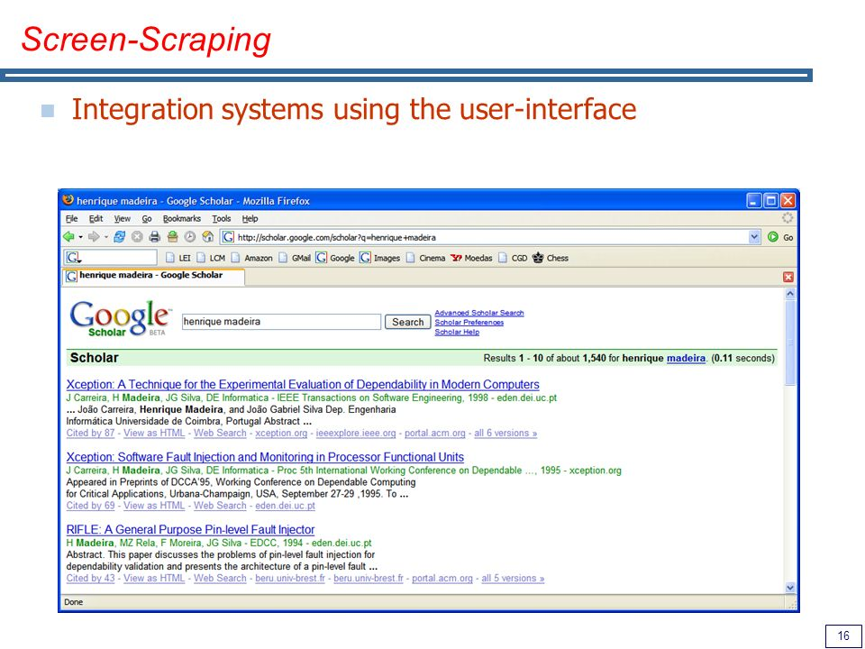 16 Screen-Scraping Integration systems using the user-interface
