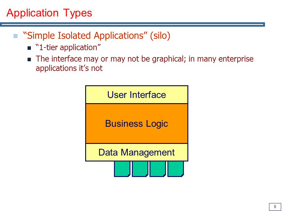 9 Application Types (2) 2-tier Applications Separation between data and business logic Business Logic User Interface Database