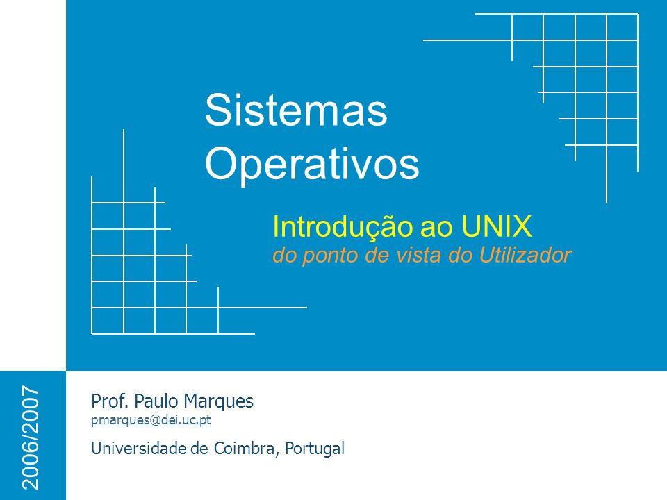 2 Famílias de Sistemas Operativos Para computadores normais, actualmente, existem duas grandes famílias de Sistemas Operativos: MS Windows (Windows XP, Windows Server 2003) Sistemas Unix (Linux, Solaris, FreeBSD, MacOS X) Windows XP Linux