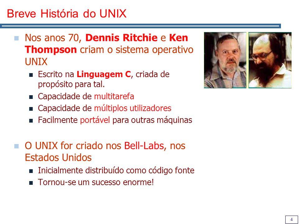 45 Comunicação Entre Processos – Pipes Uma das razões pela qual o UNIX é tão poderoso é devido a ter muitos pequenos utilitários que podem ser combinados.
