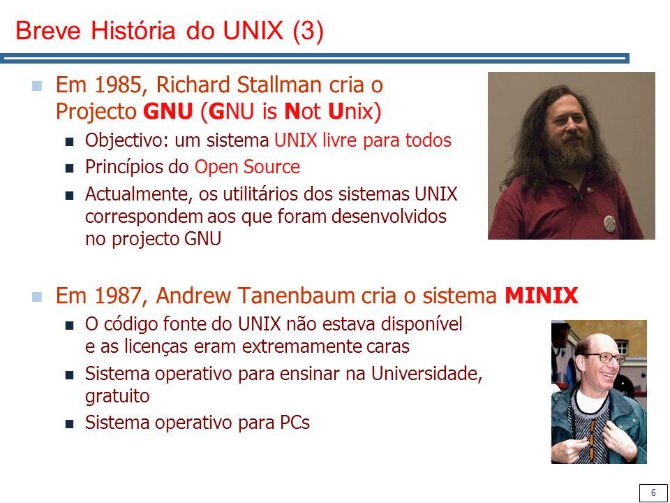 7 Breve História do UNIX (4) Em 1991, Linus Torvalds, um estudante universitário, está muito descontente com os sistemas operativos disponíveis para o seu PC O sistema MS-DOS é seriamente limitado (apenas permite executar uma aplicação de cada vez).