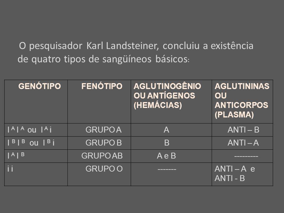 GENÓTIPO FENÓTIPOAGLUTINOGÊNIO OU ANTÍGENOS (HEMÁCIAS) AGLUTININAS OU ANTICORPOS (PLASMA) I A I A ou I A i GRUPO A A ANTI – B I B I B ou I B i GRUPO B B ANTI – A I A I B GRUPO AB A e B --------- i GRUPO O -------ANTI – A e ANTI - B O pesquisador Karl Landsteiner, concluiu a existência de quatro tipos de sangüíneos básicos :