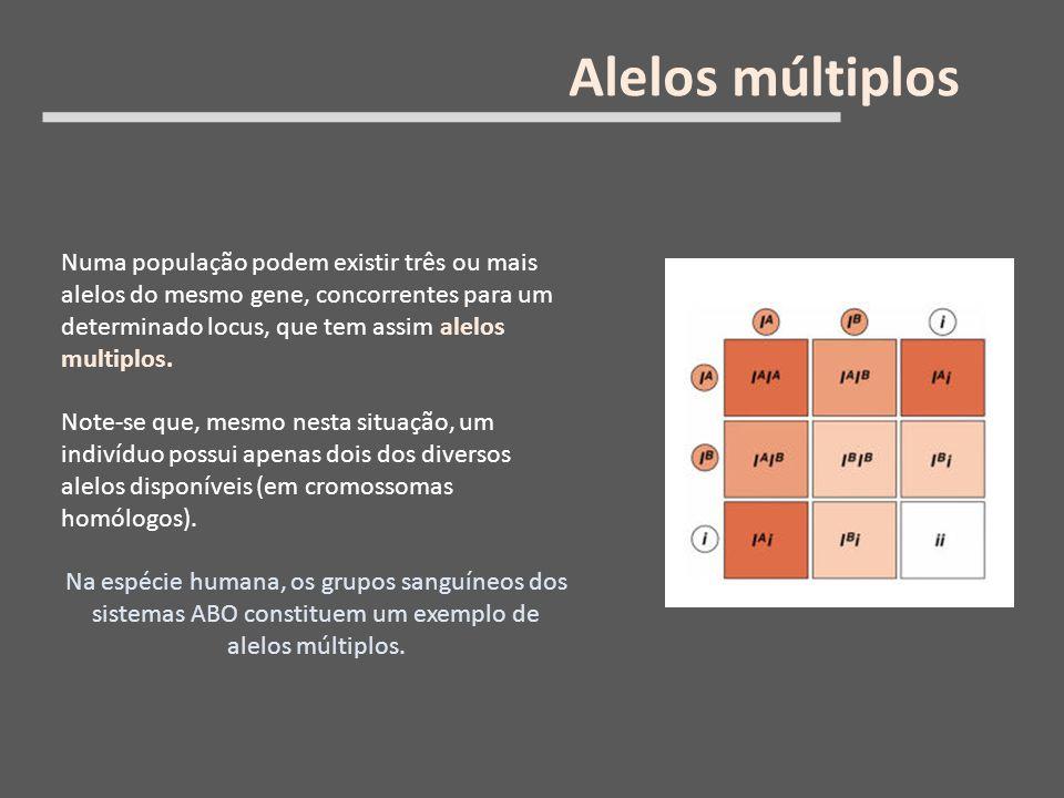 Numa população podem existir três ou mais alelos do mesmo gene, concorrentes para um determinado locus, que tem assim alelos multiplos. Note-se que, m
