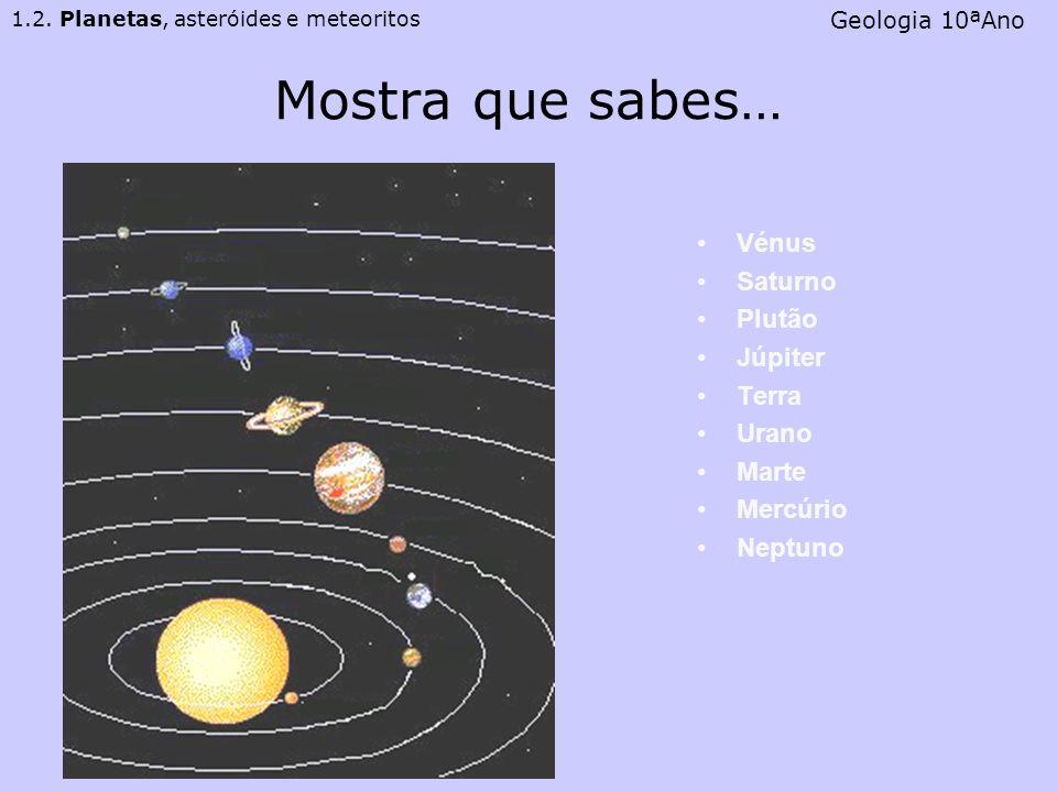 Mostra que sabes… Vénus Saturno Plutão Júpiter Terra Urano Marte Mercúrio Neptuno 1.2. Planetas, asteróides e meteoritos Geologia 10ªAno