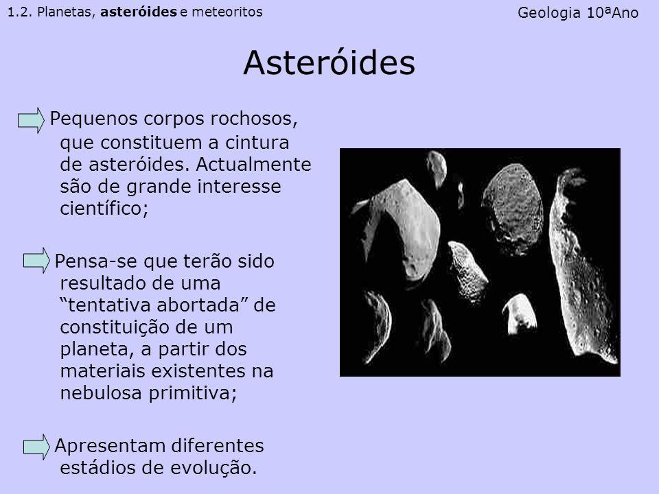 Asteróides Pequenos corpos rochosos, que constituem a cintura de asteróides. Actualmente são de grande interesse científico; Pensa-se que terão sido r