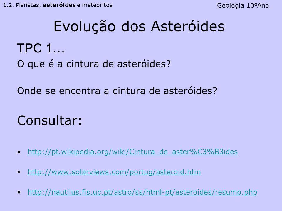 Evolução dos Asteróides TPC 1… O que é a cintura de asteróides? Onde se encontra a cintura de asteróides? Consultar: http://pt.wikipedia.org/wiki/Cint