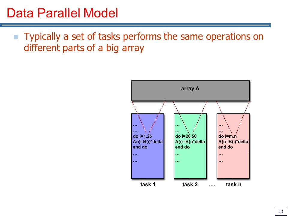 43 Data Parallel Model Typically a set of tasks performs the same operations on different parts of a big array
