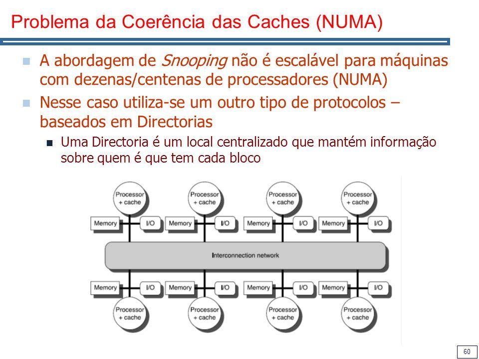 60 Problema da Coerência das Caches (NUMA) A abordagem de Snooping não é escalável para máquinas com dezenas/centenas de processadores (NUMA) Nesse ca