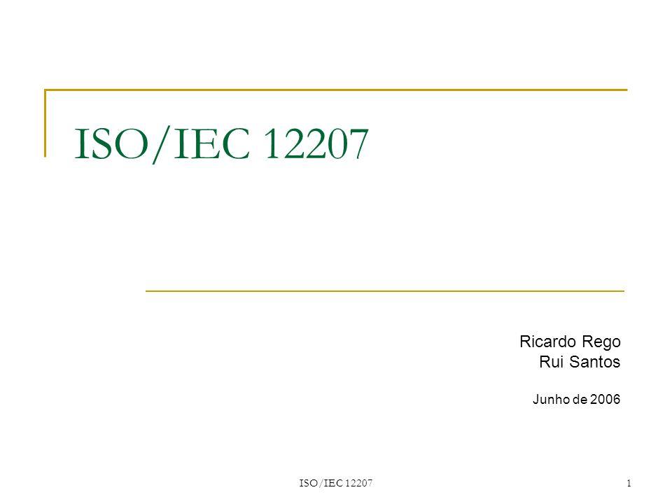 ISO/IEC 12207 32 Exemplo usando modelo do ciclo de vida Modelo do ciclo de vida do software A norma ISO/IEC 12207 organiza estas actividades e as relacionadas em processos primários, de apoio e organizacionais, que constituem o modelo do ciclo de vida do software.