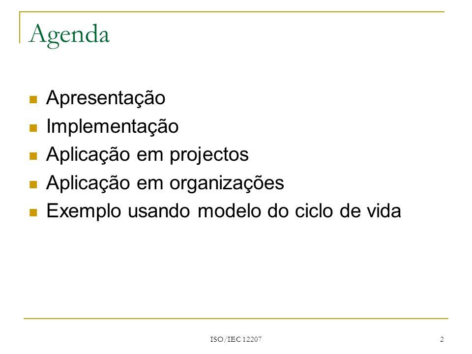 ISO/IEC 12207 2 Agenda Apresentação Implementação Aplicação em projectos Aplicação em organizações Exemplo usando modelo do ciclo de vida