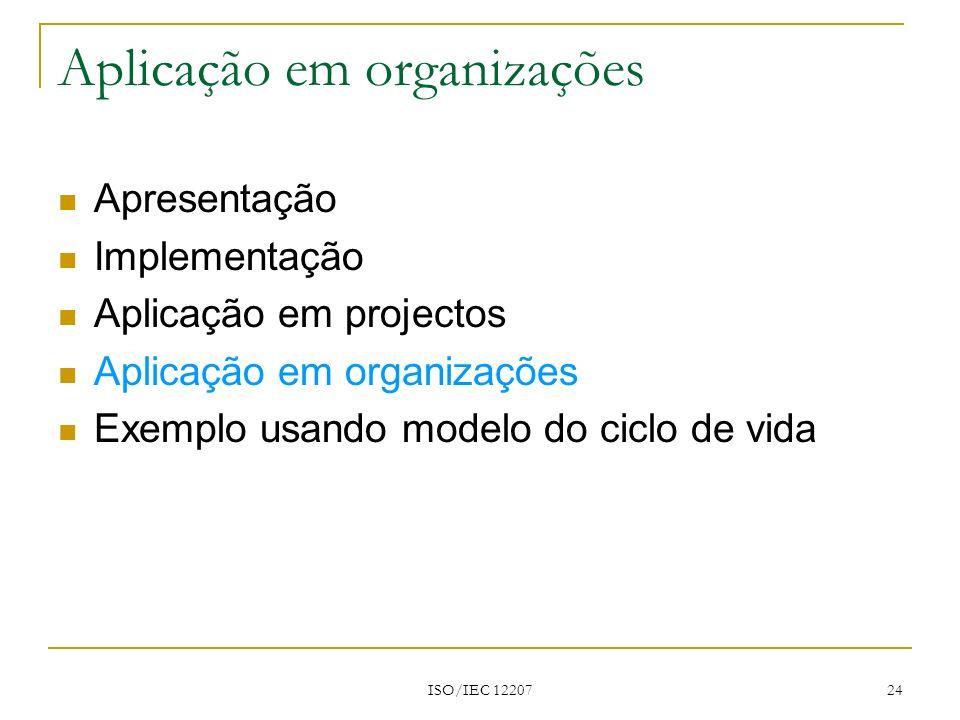ISO/IEC 12207 24 Apresentação Implementação Aplicação em projectos Aplicação em organizações Exemplo usando modelo do ciclo de vida Aplicação em organ