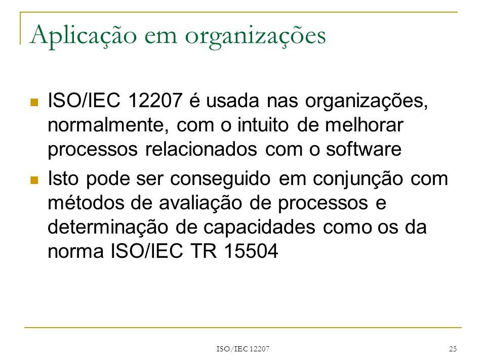 ISO/IEC 12207 25 Aplicação em organizações ISO/IEC 12207 é usada nas organizações, normalmente, com o intuito de melhorar processos relacionados com o
