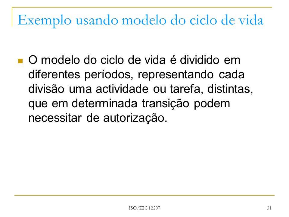 ISO/IEC 12207 31 Exemplo usando modelo do ciclo de vida O modelo do ciclo de vida é dividido em diferentes períodos, representando cada divisão uma ac
