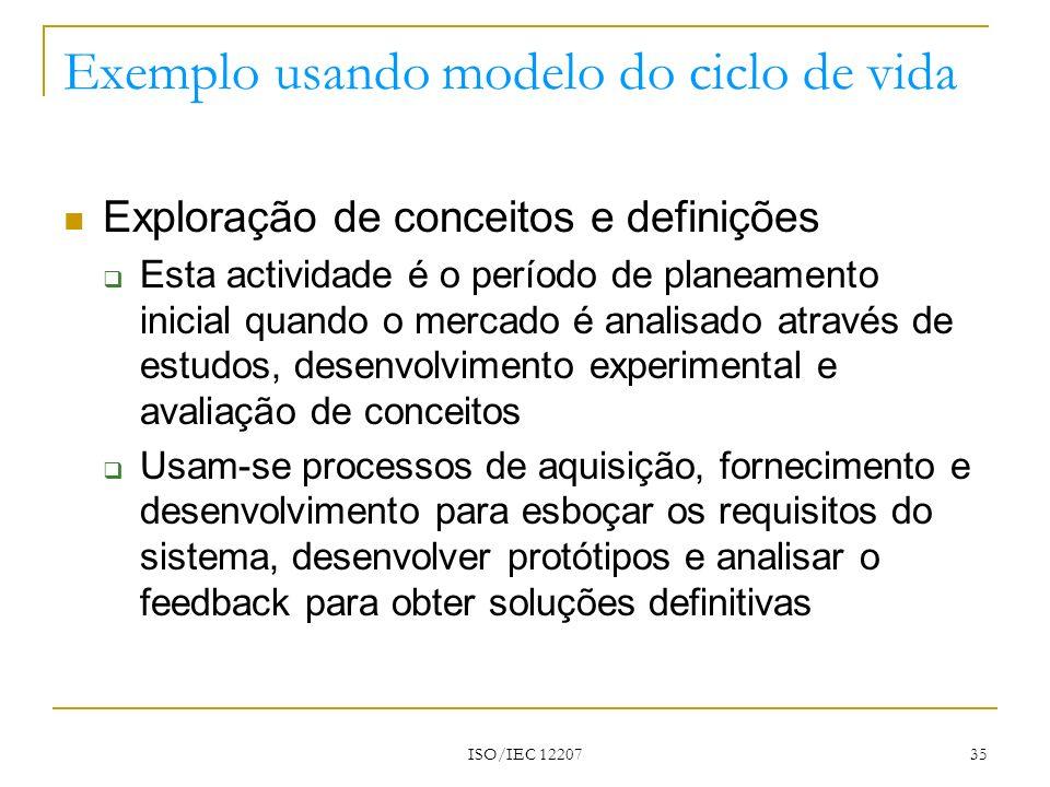 ISO/IEC 12207 35 Exemplo usando modelo do ciclo de vida Exploração de conceitos e definições Esta actividade é o período de planeamento inicial quando