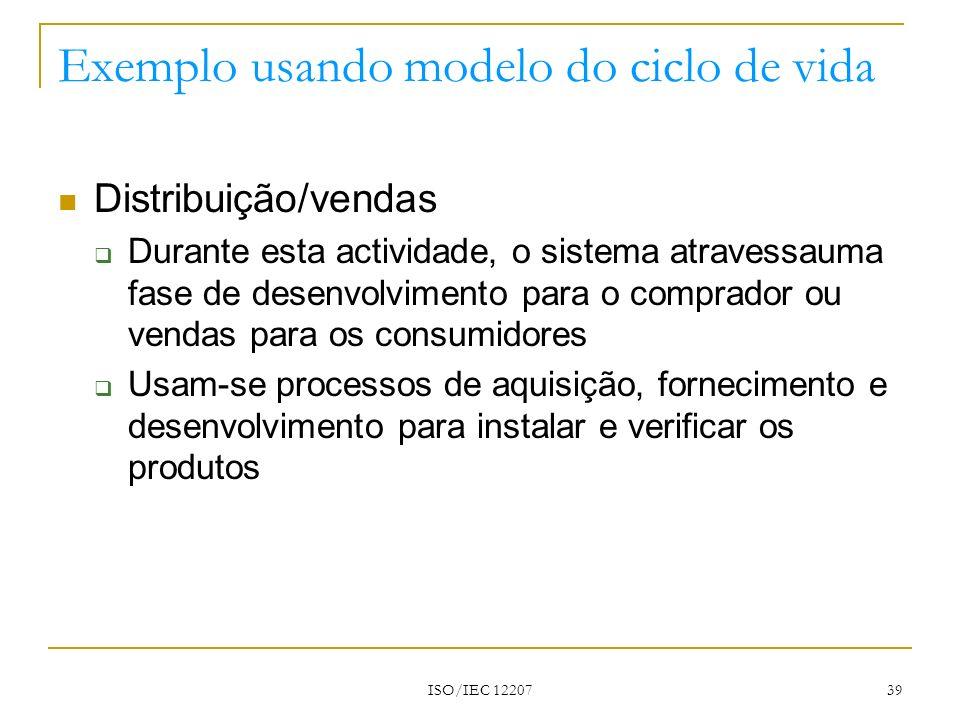 ISO/IEC 12207 39 Exemplo usando modelo do ciclo de vida Distribuição/vendas Durante esta actividade, o sistema atravessauma fase de desenvolvimento pa