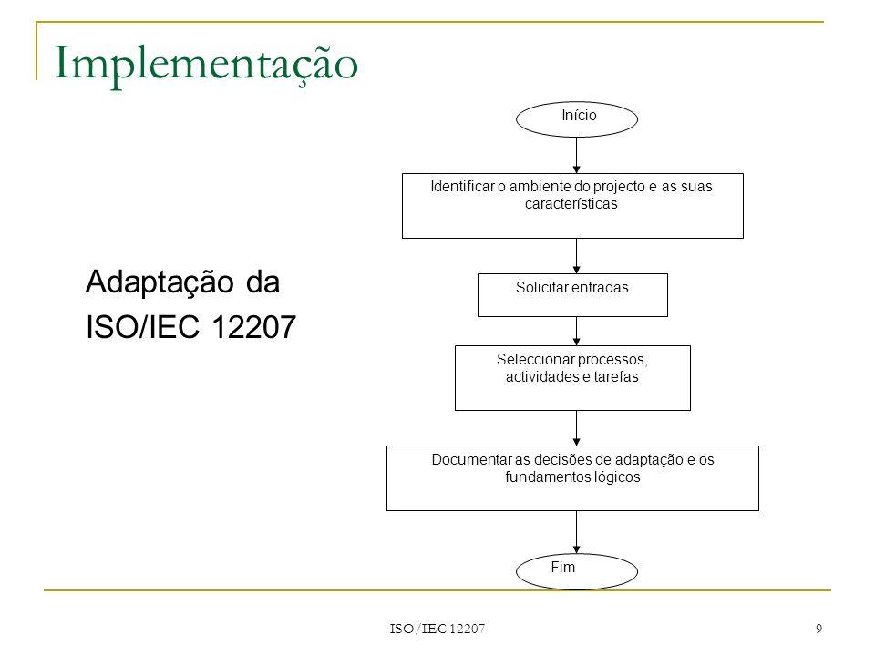 ISO/IEC 12207 10 Implementação Ambiente do projecto e suas características Características organizacionais: Que processos, políticas e procedimentos estão já implementados.